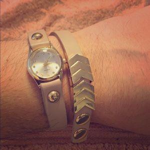 ICING ladies pink double wrap bracelet watch
